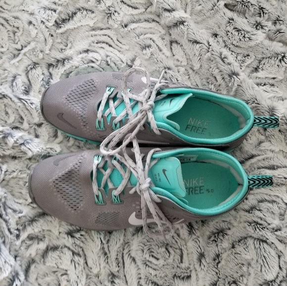 a1a2cf60ea07 Grey   tiffany blue nike free run shoes. M 5b5b50f8fe5151cabe63c051